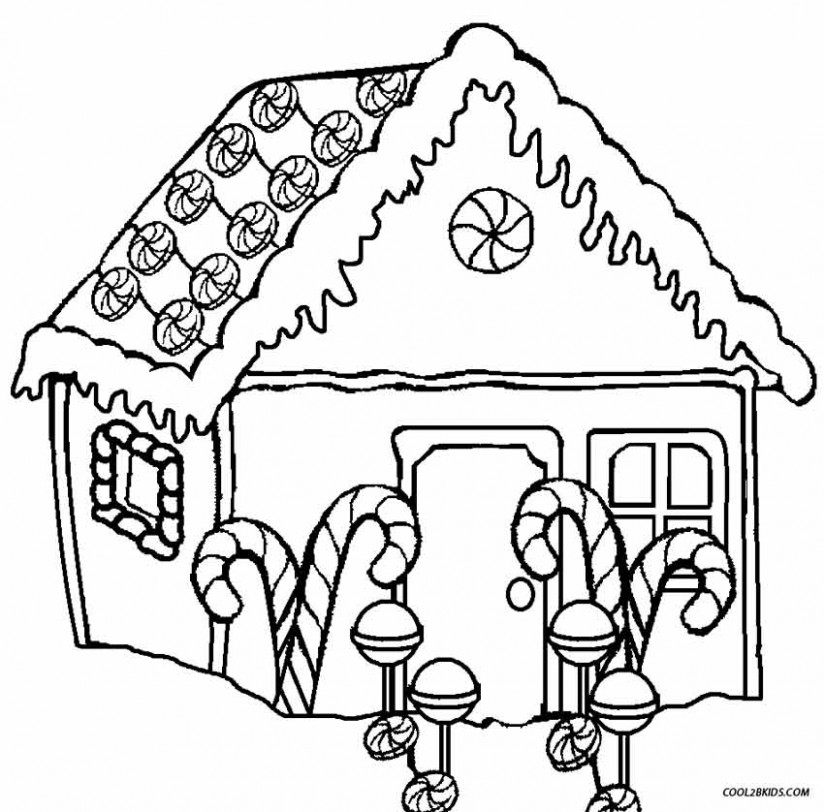 Printable Gingerbread House Coloring Pages For Kids | Cool18bKids