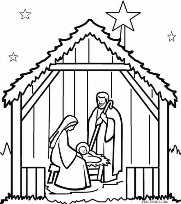Printable Nativity Scene Coloring Pages for Kids | Cool14bKids ..