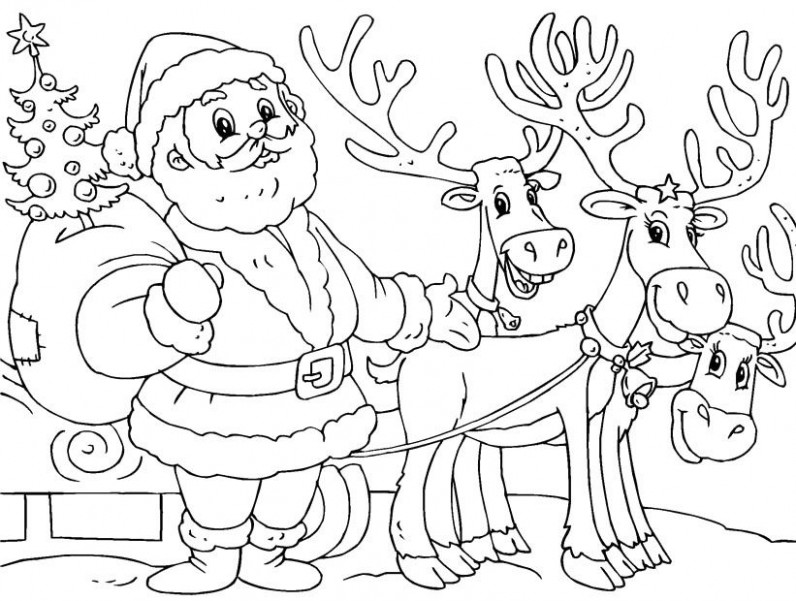 Printable Santa And Reindeer Coloring Page – Christmas Coloring ..