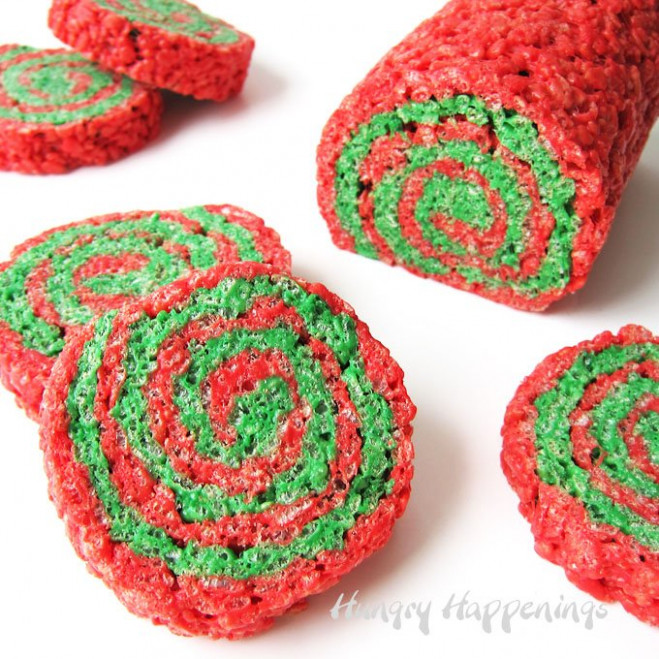 Red and Green Rice Krispies® Treat Christmas Pinwheels – Christmas Colored Rice Krispie Treats