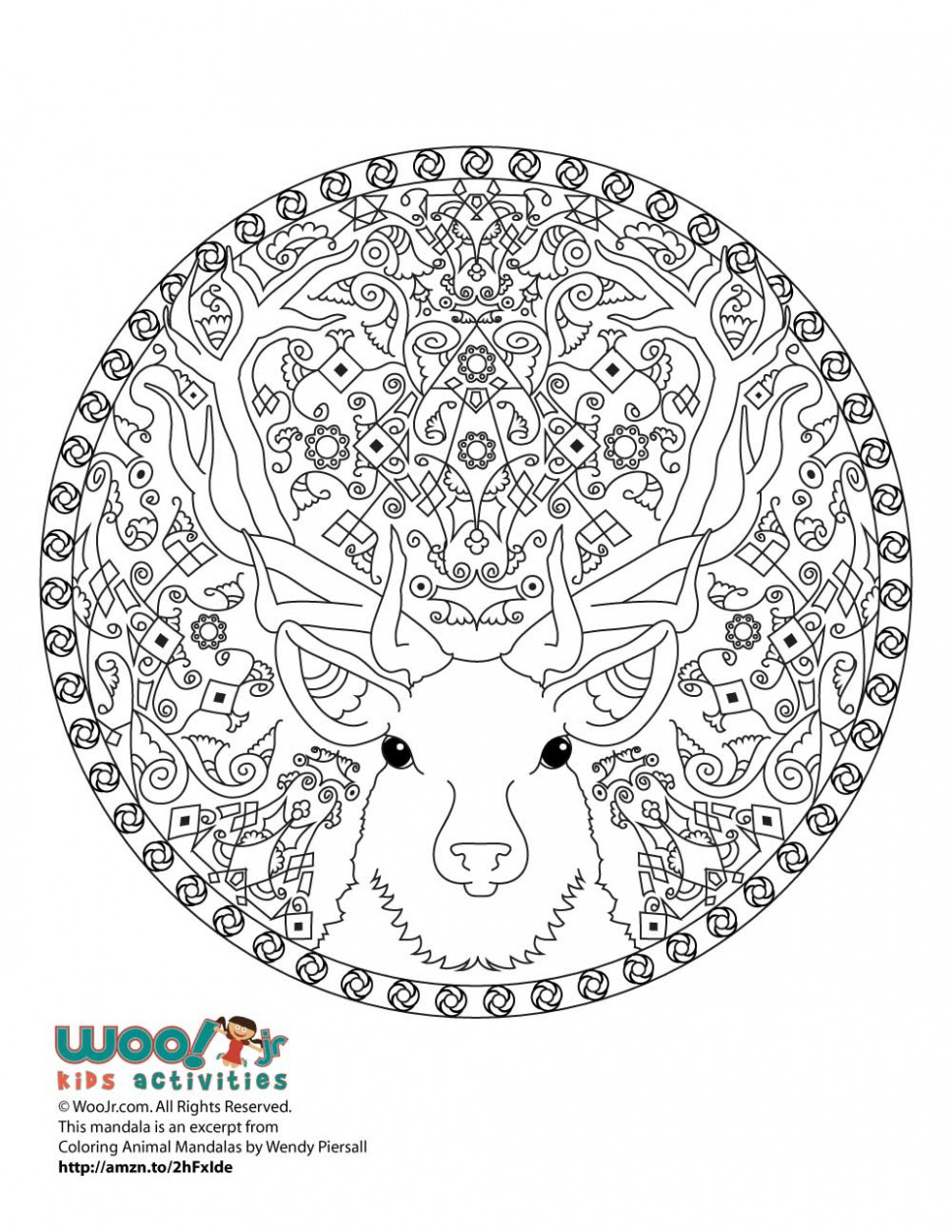 Reindeer Christmas Mandala Adult Coloring Page | Woo! Jr. Kids ...