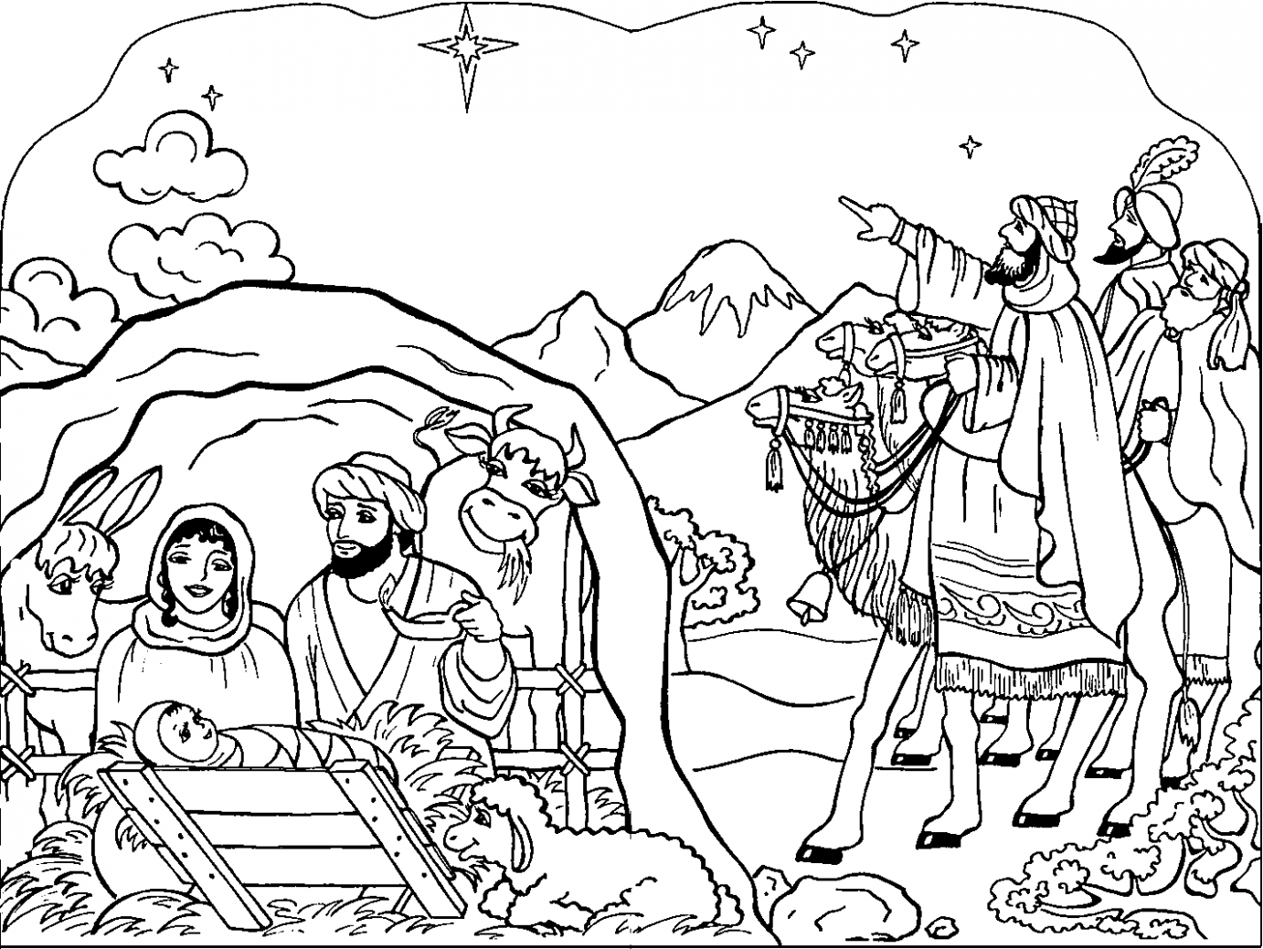 Religious Christmas Coloring Pages New Birth Free Book 16×16 ..