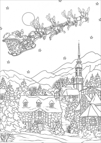 Saint Nickolas flies away over Christmas village coloring page ...