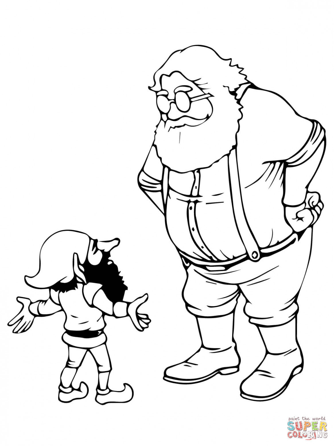 Santa and Christmas Elf coloring page | Free Printable Coloring Pages