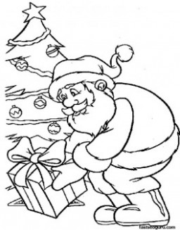 Santa cause presents under Christmas tree coloring pages - Printable ...