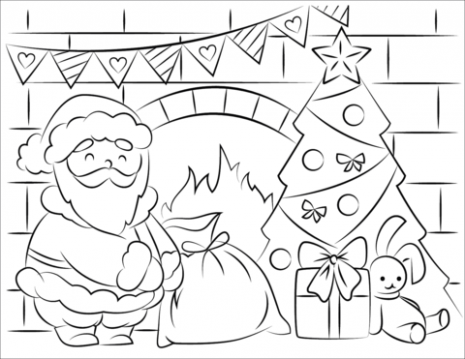 Santa Claus Bringing Presents in Christmas coloring page | Free ..