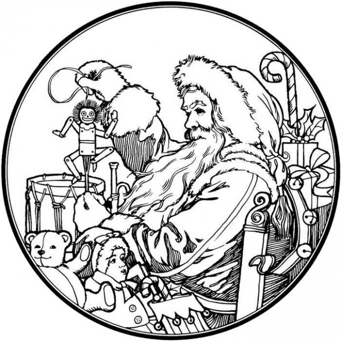 Santa Claus Christmas Coloring Pages For Adults - Free Coloring Sheets