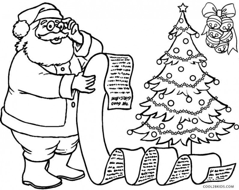 santa claus decorate christmas tree coloring pages for free. santa ...