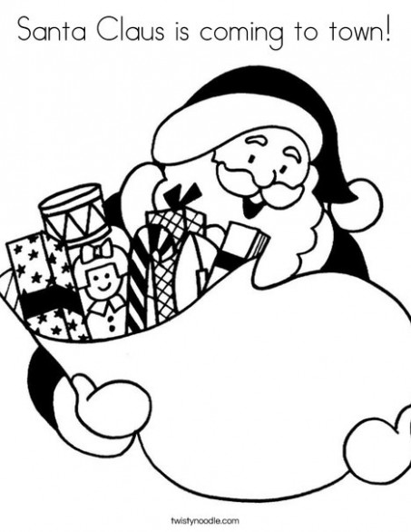 Santa Claus is coming to town Coloring Page - Twisty Noodle