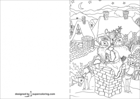 Santa Claus is Going down Through a Chimney Christmas Card coloring ...