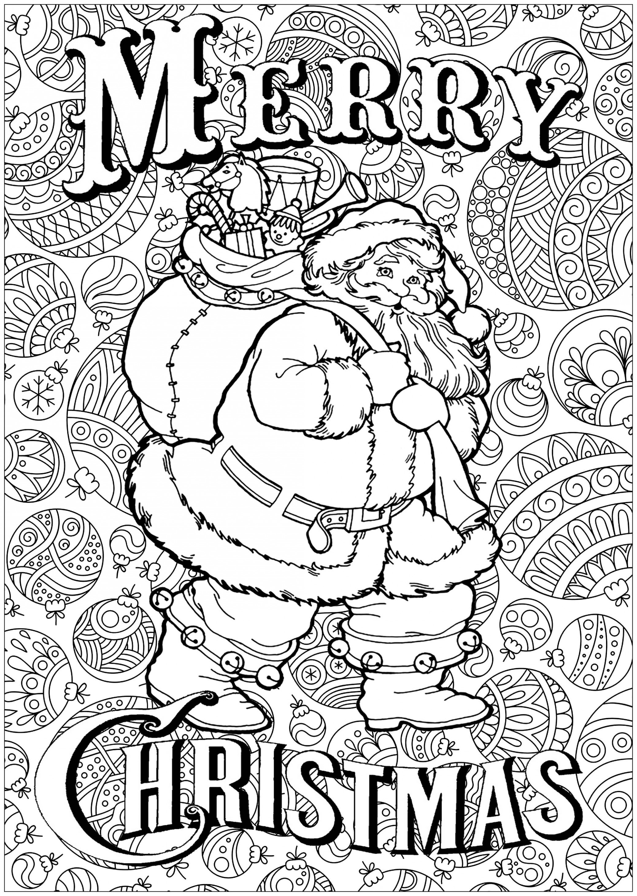Santa claus with text and background – Christmas Adult Coloring Pages – Christmas Adults Coloring Pages