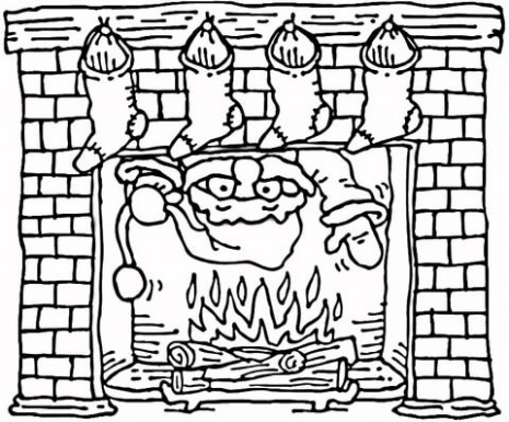 Santa coming out of the Christmas fireplace coloring page | Free ..