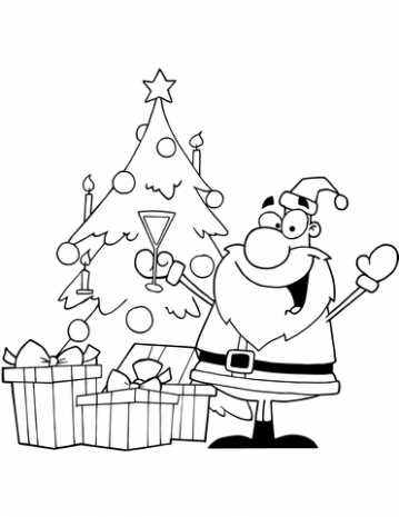 Santa Drinking Champagne by a Christmas Tree coloring page | Free ...