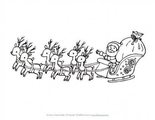 santa flying in sleigh coloring page | Kids | Christmas pictures to ..