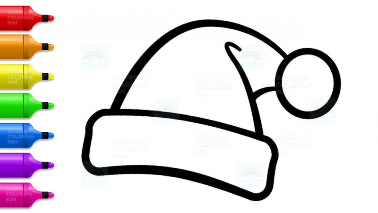 Santa Hat Coloring Pages – How to Draw Christmas Hat and Sock for ..