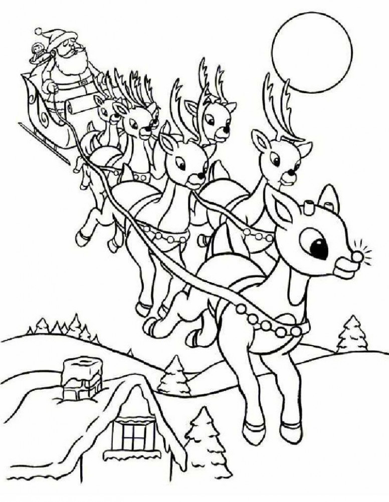 SANTA'S REINDEER coloring pages – Rudolph and Santa Sleigh ..