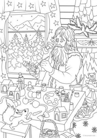 Santa's Workshop | Christmas   Easter Coloring Pages for Adults ...