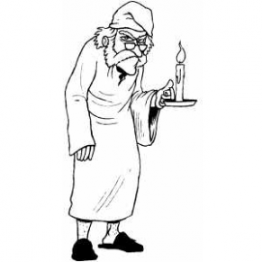Scrooge With Candle Coloring Sheet - A Christmas Carol Printable Coloring Pages