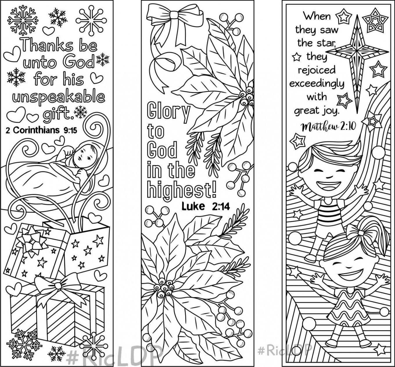 Set of 15 Christmas Coloring Bookmarks – 15 with Bible Verses and 15 ..