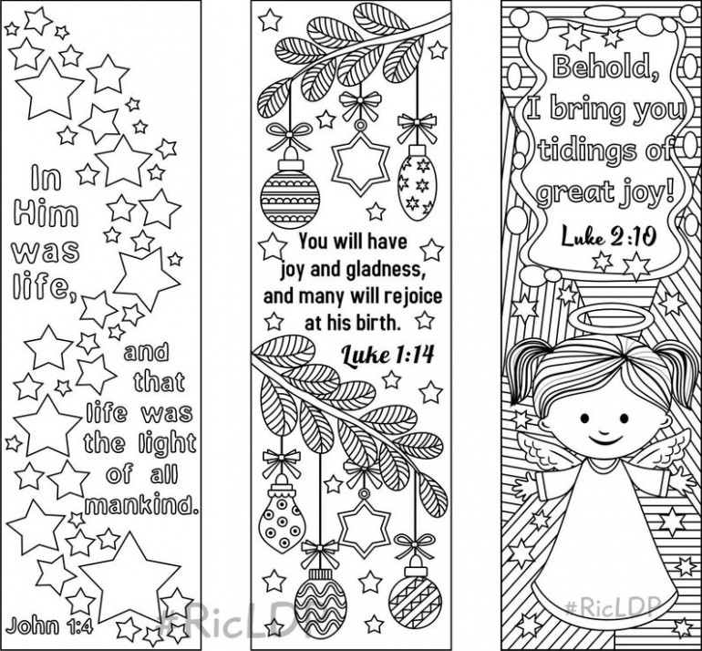 Set of 15 Christmas Coloring Bookmarks 15 with Bible Verses | Etsy – Christmas Coloring Bookmarks