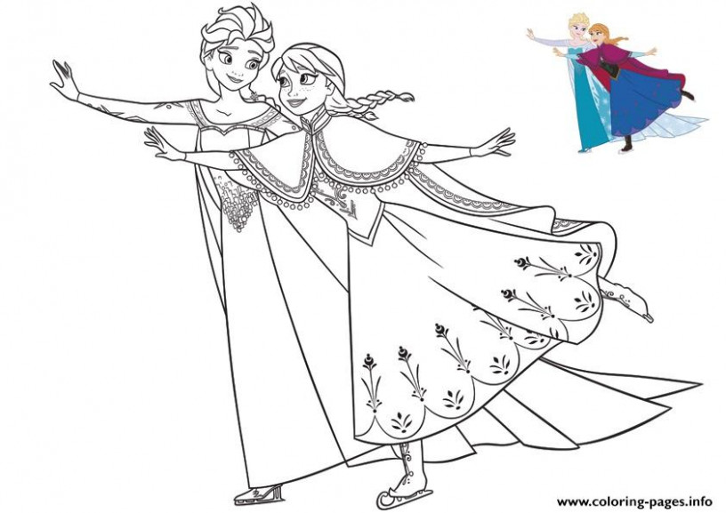 Sisters Elsa And Anna Having Fun Frozen Christmas Coloring Pages ..