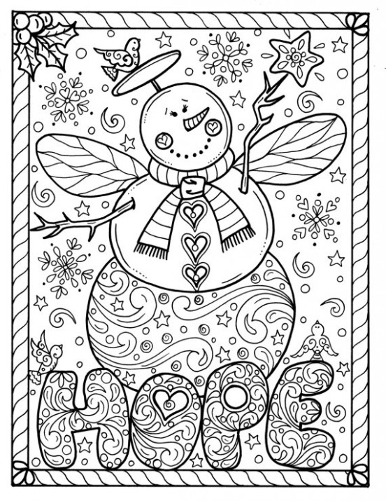 Snow Angel Instant download Christmas Coloring page Holidays Adult ...