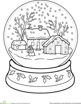 Snow Globe Coloring Page | דוגמאות לרקמה | Christmas colors ..