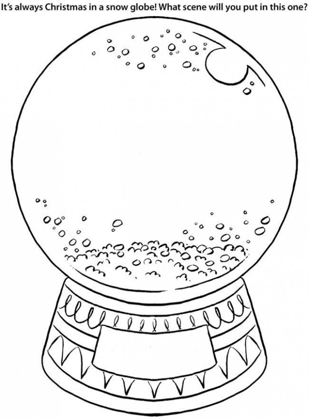 Snow Globe Coloring Page – Coloring Home – Christmas Globe Coloring Pages