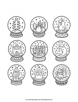 Snow Globes Coloring Page | Printable Christmas Coloring eBook ...