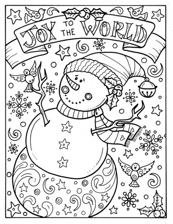 Snowman Joy to the world digital download Christmas Coloring Adult ...