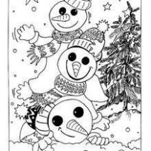 Snowmen for christmas eve coloring pages - Hellokids.com