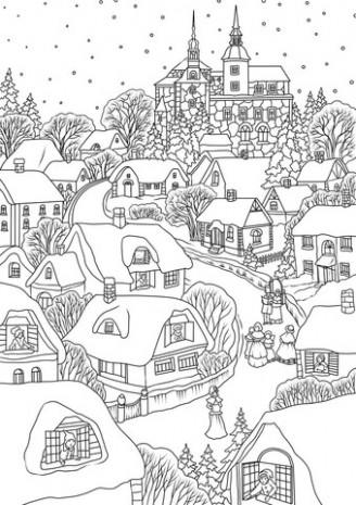 Snowy Village on Christmas Eve coloring page | Free Printable ...