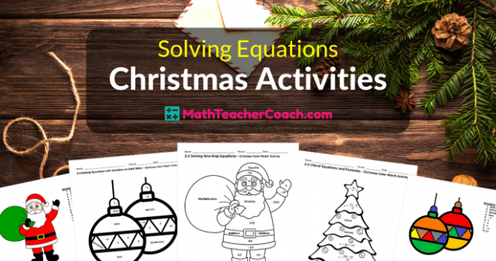 Solving Equations Christmas Coloring Worksheets ⋆ Algebra 18 Coach – Free Christmas Coloring Math Worksheets