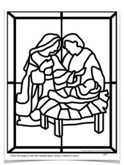 """Stained Glass"""" Christmas Nativity Scene COLORING Pages by Art with .."""