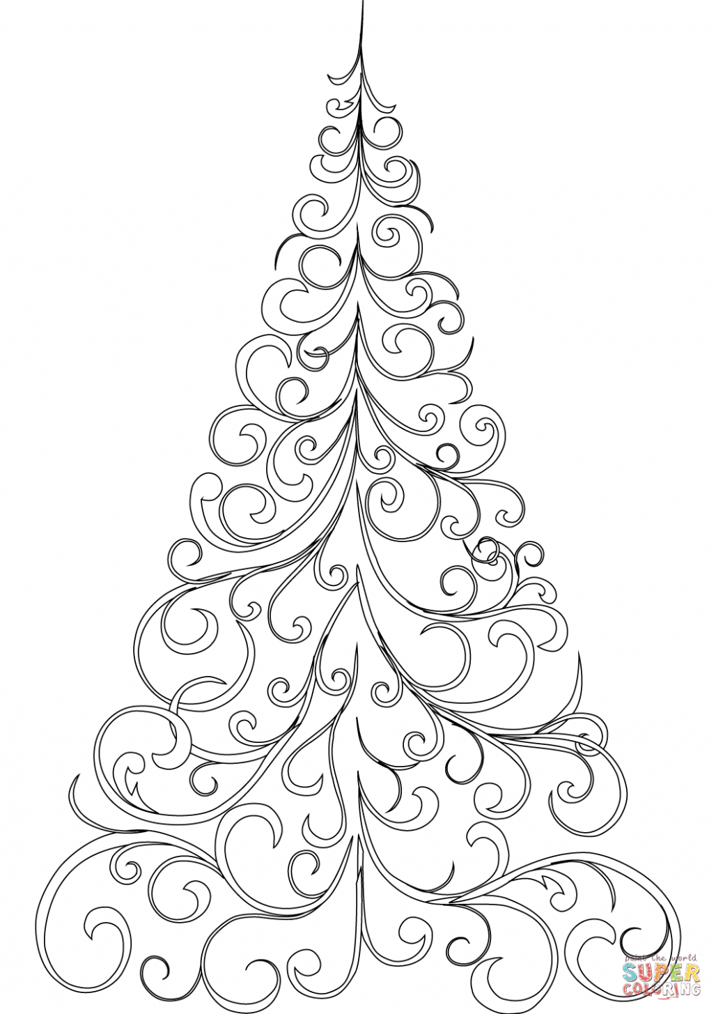 Swirly Christmas Tree coloring page | Free Printable Coloring Pages