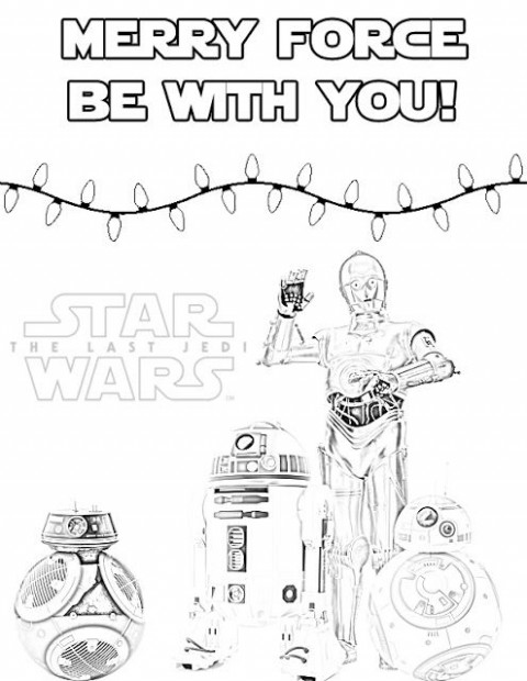 The Last Jedi Droids Holiday Coloring Page for Christmas or Hanukkah ...