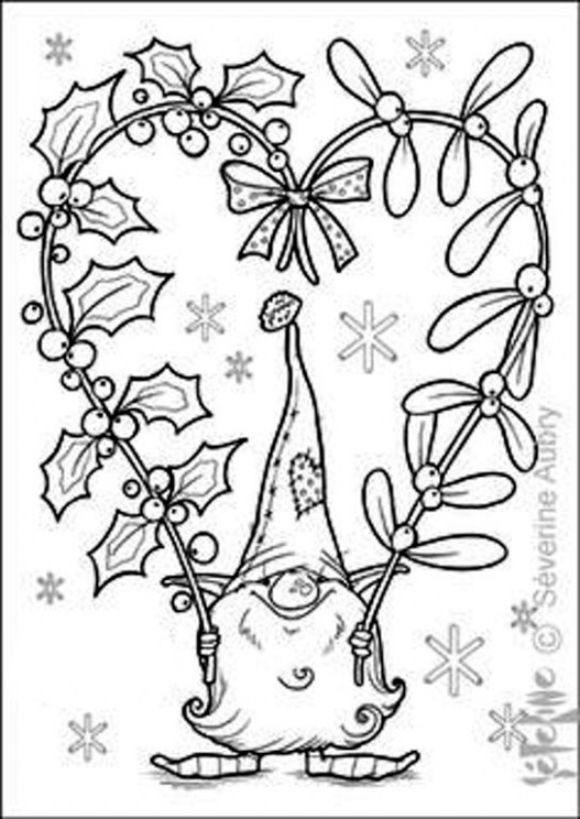 Tomte, holly  – Christmas Gnome Coloring Page