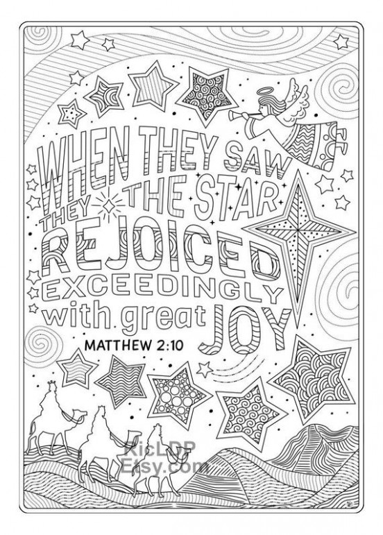 Two Christmas Coloring Pages Xmas Coloring with Bible Verses | Etsy