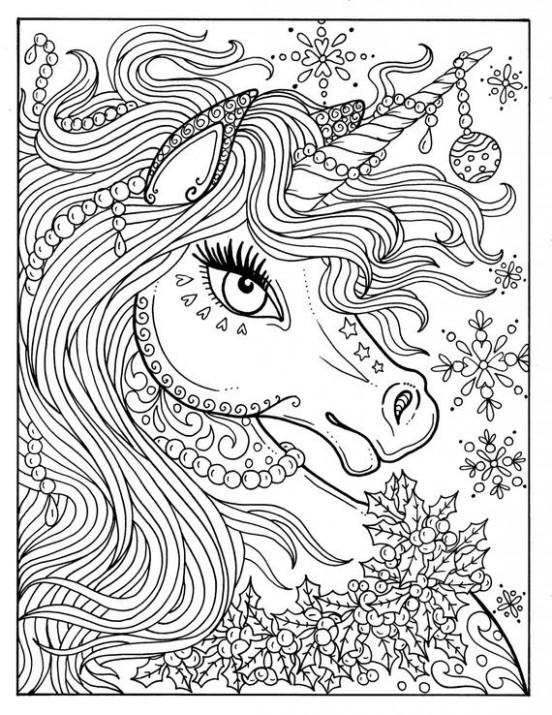 Unicorn Christmas Coloring Page Adult Color Book Art Fantasy | Etsy