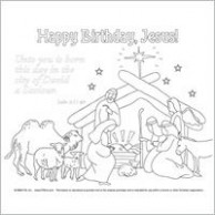 "Unto you is born - Happy Birthday Jesus"" Manger Scene coloring page ..."