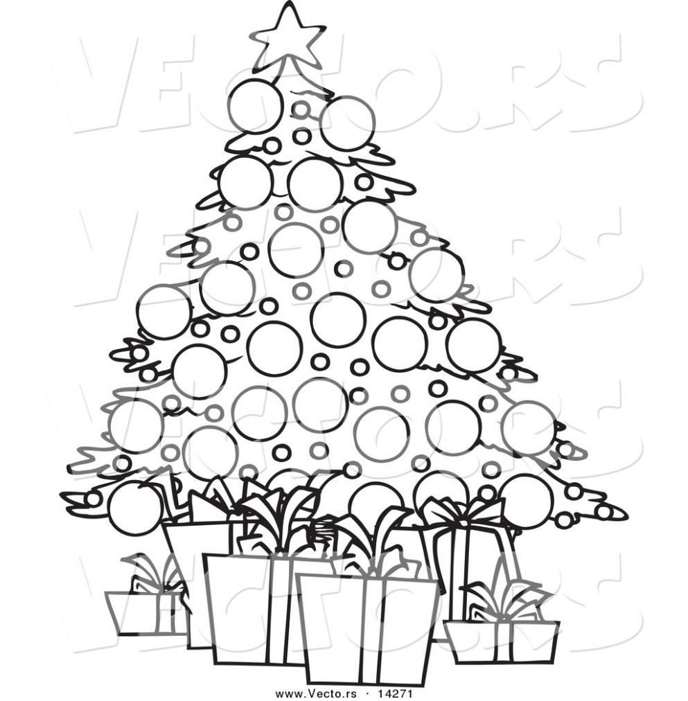Vector of a Cartoon Christmas Tree and Gifts - Coloring Page Outline ...