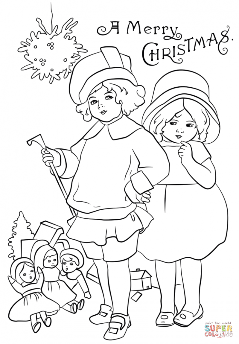 Victorian Christmas Card coloring page | Free Printable Coloring Pages