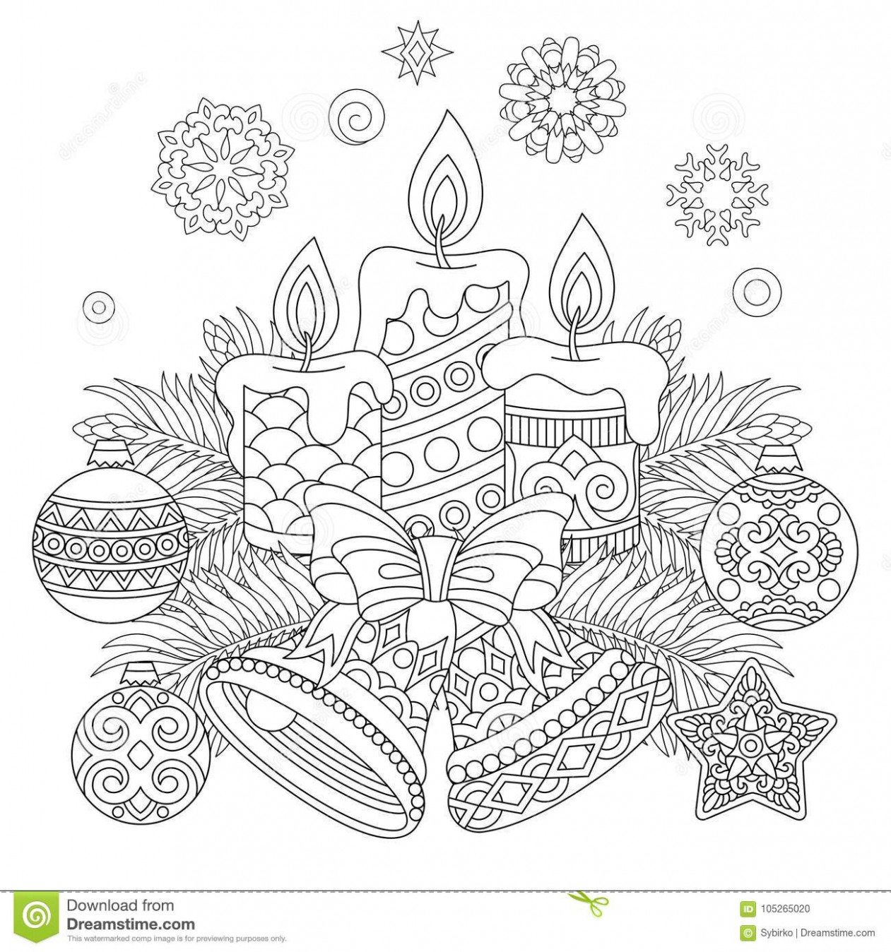 Vintage Christmas Decorations For Greeting Card Stock Vector ..