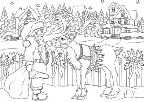 Vintage Santa Claus with His Christmas Deer coloring page | Free ..