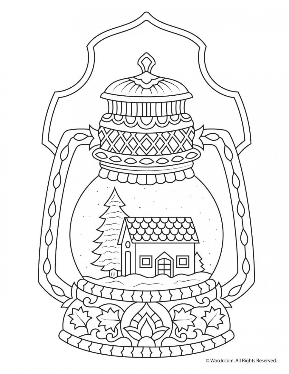 Winter Snow Globe Adult Coloring Page Christmas Easter At - baby-boom.me