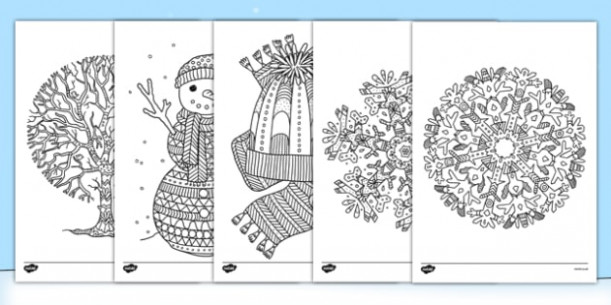 Winter Themed Mindfulness Colouring Sheets - Health and Wellbeing
