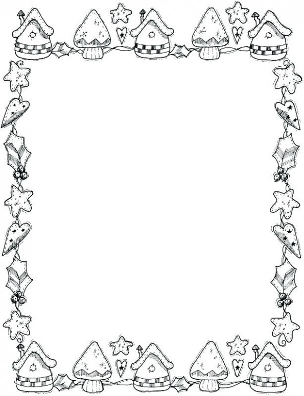 Writing Page With Picture Paper Decorative Borders Coloring Pages ..