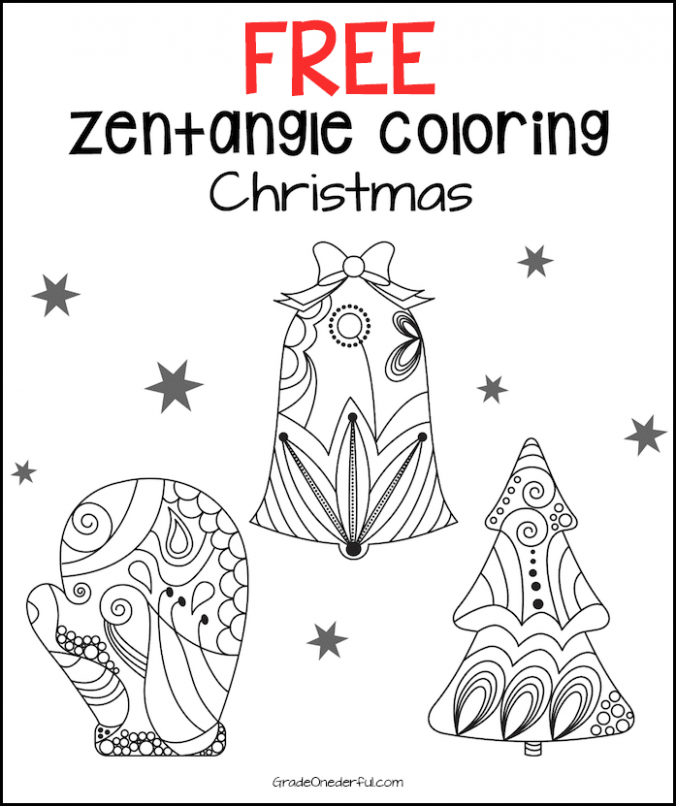 Zentangle Christmas Coloring Pages | Grade Onederful – Christmas Zentangle Coloring