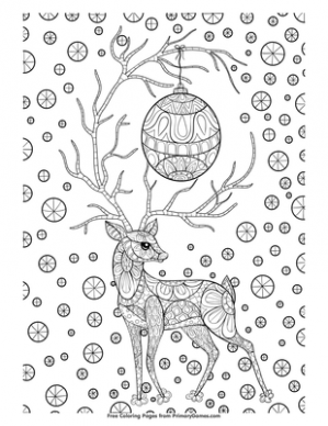 Zentangle Christmas Reindeer Coloring Page | Printable Christmas ...