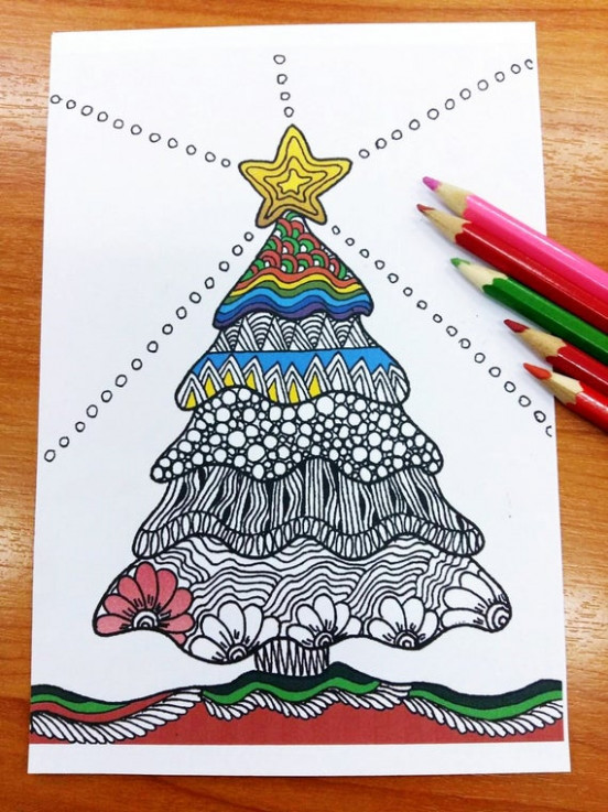 Zentangle Christmas Tree Coloring pages Adult Coloring | Etsy